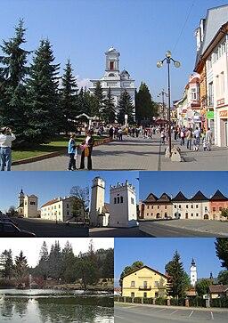 Centrum i Poprad og bydel Spišská Sobota