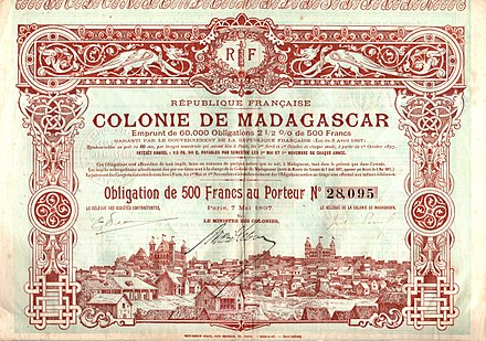 Bond of the French colony Madagascar, issued 7. May 1897 Colonie de Madagascar 1897.jpg