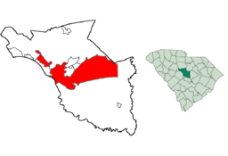 Columbia, South Carolinas läge i Richland County och South Carolina.