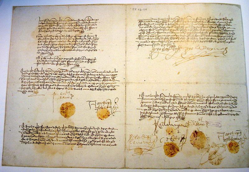Tratado Concordia de Segovia (Archivo General de Simancas).</b>.