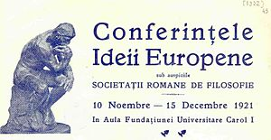 Constantin Beldie - Letterhead announcing the Ideea Europeană Conference of November 1921. From the invitation addressed by Beldie to poet Emil Isac
