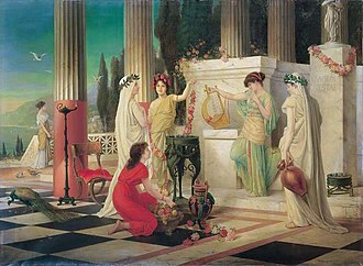 Alba Longa - In the temple of Vesta, painting by Constantin Hölscher, 1902.