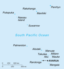 map of the Cook Islands with water in blue and land as blue circles. Shows two major island groups with one to the north and one to the south