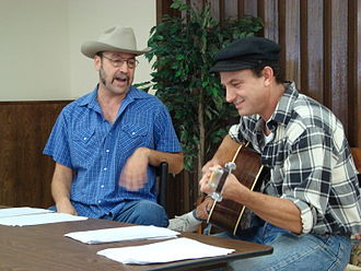 Woody Guthrie Folk Festival - John Cooper and Brad Piccolo read the parts of Bob Wills and Woody Guthrie. July 11, 2008.