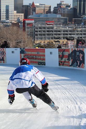 Crashed Ice - Crashed Ice skater with downtown St. Paul, Minnesota