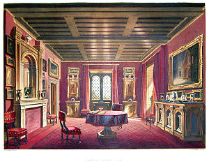 Beckford's Tower - A chromolith by Willis Maddox of the Crimson Drawing Room at Beckford's Tower. First published in English's Views of Lansdown Tower (1844)
