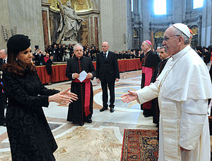 Papal inauguration of Pope Francis - President of Argentina, Cristina Fernandez de Kirchner with Pope Francis during the installation mass.