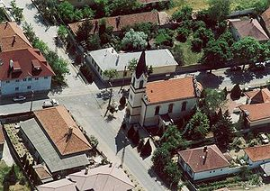 Csömör - Aerial photograph of Csömör showing the Lutheranist (Evangélikus) church
