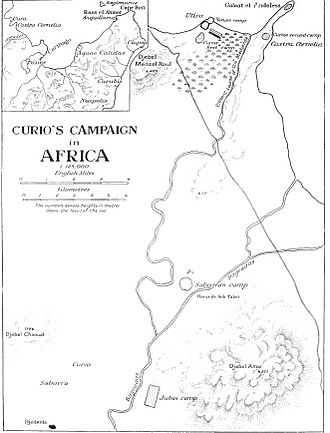 Battle of Utica (49 BC) - Map showing Curio's campaign in Africa