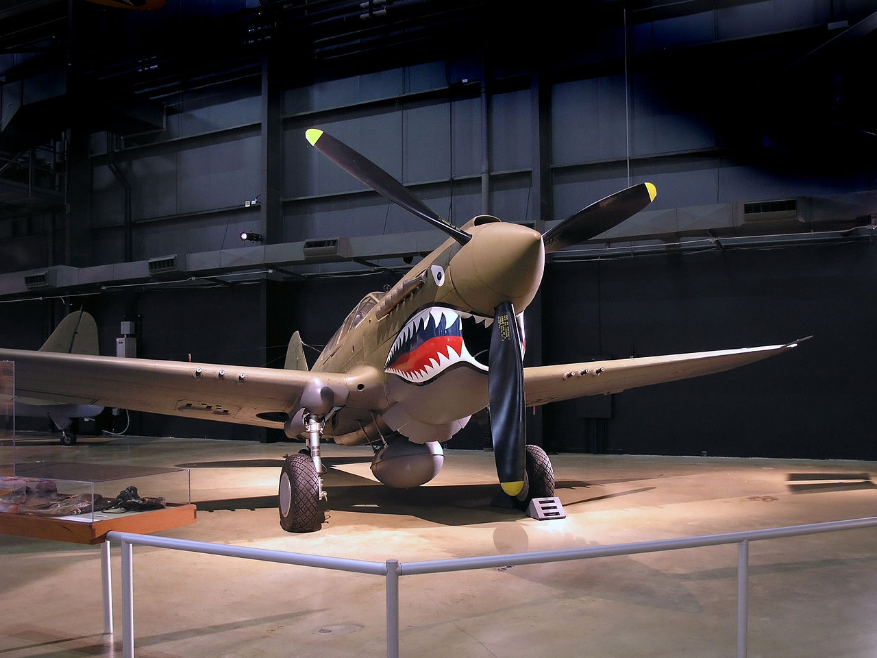 P40 War hawk painted with Flying Tigers shark face