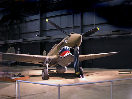P-40 Warhawk painted with Flying Tigers shark face at the National Museum of the United States Air Force Curtis P40.jpg