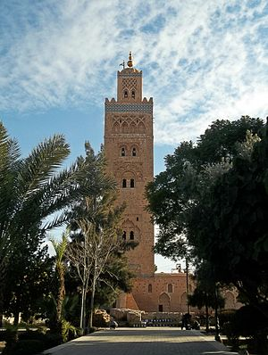 Moroccan architecture - The Koutoubia Mosque in Marrakech, completed in the Almohad period 1184–1199