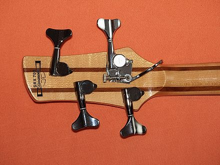 A bass guitar headstock with detuner set to D position D-Tuner.jpg