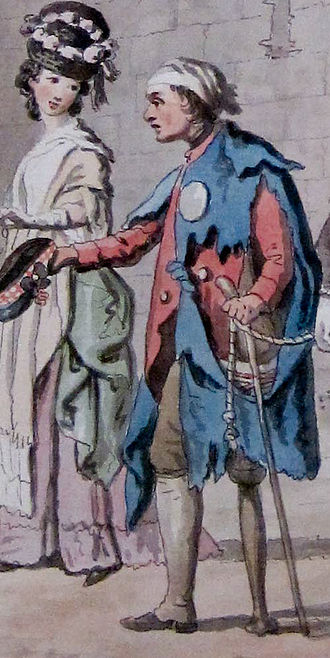 Beggars badges - Portion of A Peg-legged Beggar, with Donkey and Children by David Allan