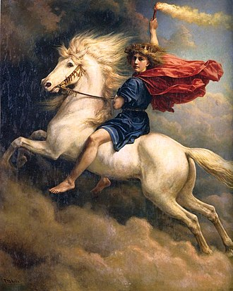 Day - Dagr, the Norse god of the day, rides his horse in this 19th-century painting by Peter Nicolai Arbo.