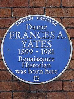 Dame frances a yates 1899 1981 renaissance historian was born here