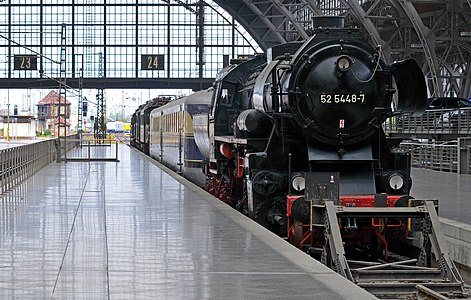 The Tank locomotive No. 52 5448-7 at the Museum track in the Leipzig main railway station in Germany.