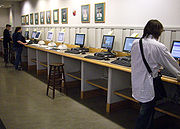 Students at a bank of Blitz terminals in Baker-Berry Library.