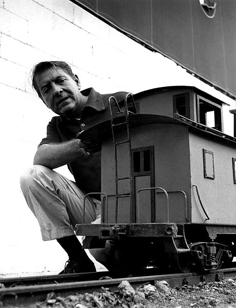 File:David Rose and one of his miniature trains 1959.JPG