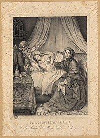 An engraving showing a woman lying in a draped bed and clutching a cross, with a woman dressed in mourning seated at the side of the bed, while a priest and 2 women wait next to a table on the left side of the picture