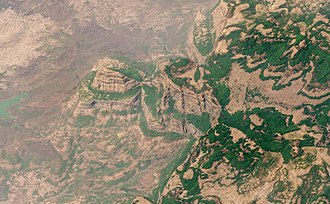 Deccan Traps - Oblique satellite view of the Deccan Traps