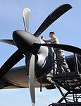 Defense.gov News Photo 120227-F-ZL760-942 - Staff Sgt. Thomas Johnson a 19th Equipment Maintenance Squadron aerospace propulsion craftsman finishes moving an engine propeller on a C-130J.jpg
