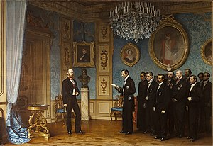 Miramare Castle - Cesare dell'Acqua (1867), Maximilian receiving the Mexican delegation, being offered the crown of Mexico.