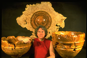 Dennis Elliott and his wood sculptures 1997.jpg