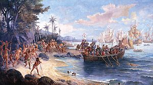 Ilha de Vera Cruz - Romantic depiction of the first landing of Pedro Álvares Cabral in 1500.