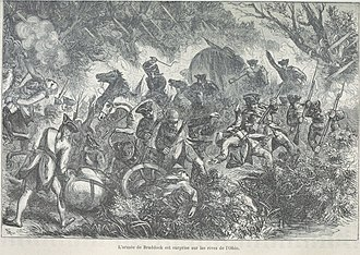 Ambush - General Braddock's troops ambushed and decimated by the French and Indians in 1755