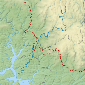 Devonport Leat - Route of Devonport Leat (blue); dashed red line shows edge of Dartmoor