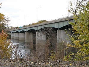 Dexter Coffin Bridge - The upstream side of the Dexter Coffin Bridge pictured from Windsor Locks looking towards East Windsor.