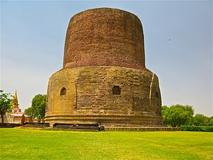 Dhamekh Stupa, where the Buddha gave the first sermon on the Four Noble Truths and the Eightfold Path to his five disciples, Sarnath.jpg