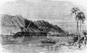 1854 Tōkai earthquake - The wreckage of Diana following the 1854 Ansei-Tōkai earthquake and tsunami, Illustrated London News, 1856.