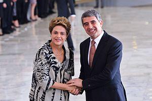 Rosen Plevneliev - Then Brazilian President Dilma Rousseff greets Plevneliev upon his arrival to the Planalto Palace in Brasília, Brazil, 1 February 2016.