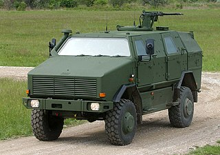 wheeled armored personnel carrier used for patrol, reconnaissance, and security