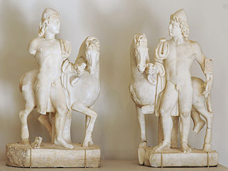 Castor and Pollux - Pair of Roman statuettes (3rd century AD) depicting the Dioscuri as horsemen, with their characteristic skullcaps (Metropolitan Museum of Art)