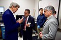Director Banerjee and UT-Austin President Fenves Show Secretary Kerry New Solar Technology During a Tour of the Pickle Research Center at the University of Texas at Austin (26074440254).jpg