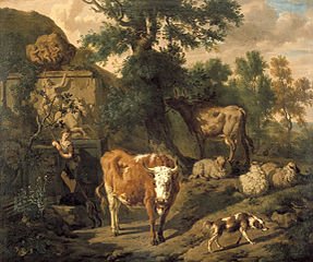 Resting Cattle near a Grave monument