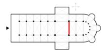 Схема. crossing; Kreuzung f, Vierungskuppel f; point (m) crucial - в средневековых готических и романских храмах...