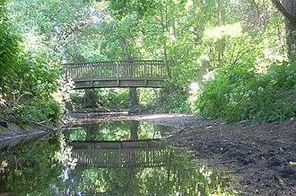 Dollis Brook - A footbridge over Dollis Brook in Windsor Open Space, Finchley 2009.