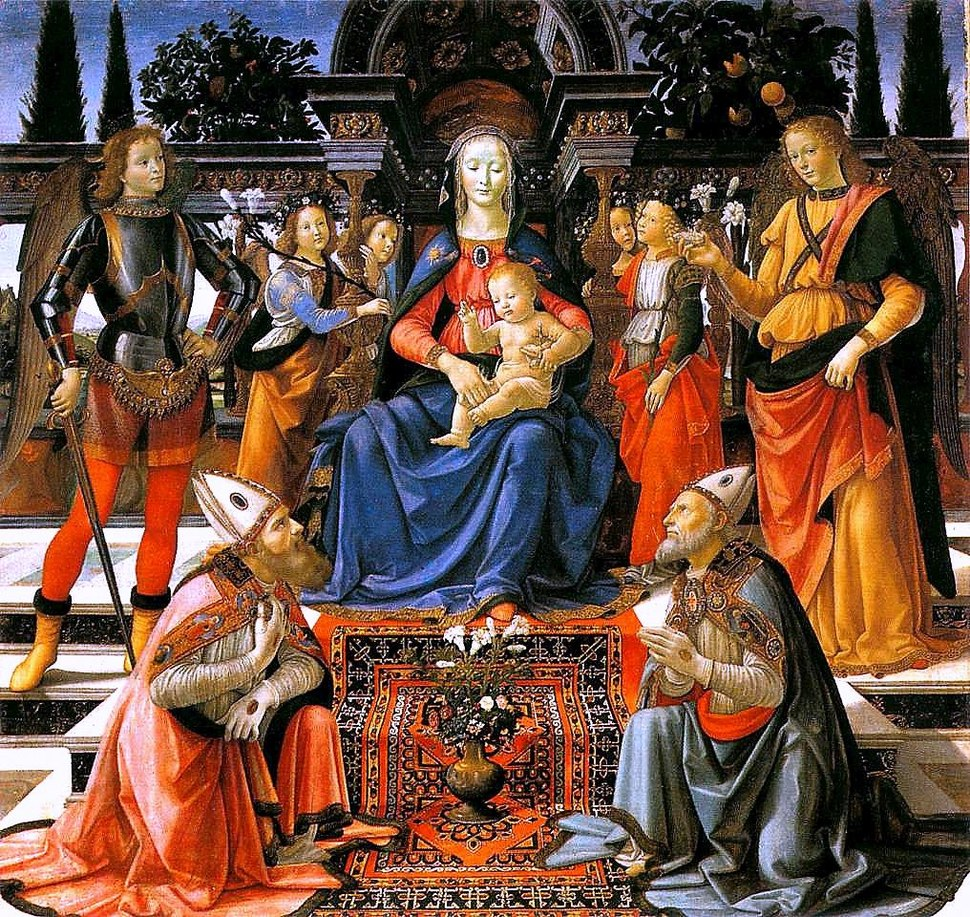 Domenico Ghirlandaio Madonna and Child enthroned with Saint c 1483