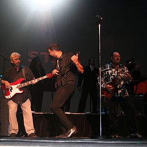 """Donald """"Duck"""" Dunn - Dunn (left), Guy Sebastian (center) and Steve Cropper (right) on tour in Australia with the Memphis Tour"""