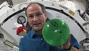 Donald Pettit - Pettit demonstrates microgravity using characters from 'Angry Birds.'