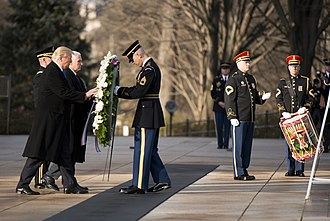 Inauguration of Donald Trump - Donald Trump and Mike Pence at the wreath laying ceremony at the Tomb of the Unknown Soldier
