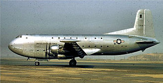 15th Air Transport Squadron - 15th ATS Douglas C-124A-DL Globemaster II 51–144, photo taken when the aircraft was delivered, before MATS livery was applied.