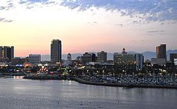 Downtown, Long Beach from Queen Mary (Dusk).JPG