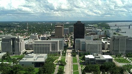 Downtown Baton Rouge from the observation deck of the Louisiana State Capitol, 2013