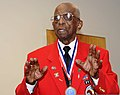 Dr. Cyril O. Byron Sr., a former Tuskegee Airman, addresses U.S. Airmen assigned to the 175th Wing, Maryland Air National Guard during roll call at Martin State Airport in Baltimore, Md., Aug. 11, 2012 120811-Z-PA115-692.jpg