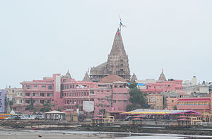 Dwarka - Dwarika Jagat Mandir (or Dwarkadhish Temple), view from entrance of the city.